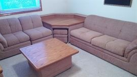 Sectional with matching ottoman, coffee, corner and  end/sofa table
