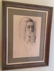 "Constantin Chatov Charcoal of Girl, ""Apprehension"" -Constantin Chatov was a native Georgian (of Russia). After fleeing from Russia in 1922 with his brother and fellow artist Roman, he made his home in Atlanta, GA.... 28.5"" x 22"" $4800"