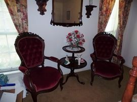 Victorian Parlor Chairs and Pie-crust Table