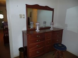 Vintage Drexel Chest with Mirror and Piano Stool