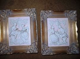 Raised Gesso Pictures, 4 available in beautiful frames