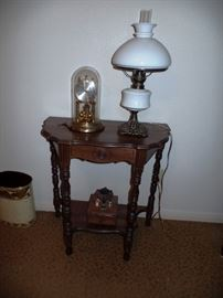 Small Antique Half Table with Milkglass Lamp