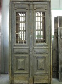Pair of Egyptian Doors with Iron Bars