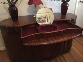 Shrager Art Deco furniture, made in England--Armoire, dresser, night stand. Dresser has damage on left side