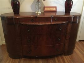 Shrager Art Deco furniture, made in England--Armoire, dresser, night stand. Dresser has damage on left side.