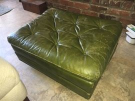 Vintage leather ottoman.
