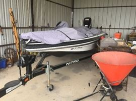 Nitro Z-7 bass boat with trailer, 150 HP Mercury outboard motor, trolling motor, electronic depth finder, digital camera-Loaded! Less than 100 operating hours!
