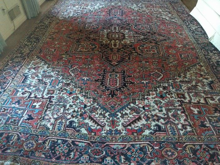 "Gorgeous 50-year old Persian Heriz, 100% wool, hand woven, measures 12'-8"" x 9'-8""."