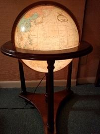 "Wonderful, vintage 1970's 16"" diameter ""Heirloom"" illuminated globe on stand, by Replogle."