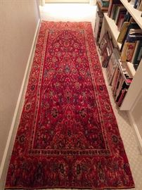 Pristine condition on this 100% wool, hand woven Persian Shadsar Kashan runner, measures 3' x 9'.