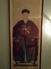 This is really an extraordinary pair of Chinese scroll ancestral portraits. These were purchased in Hong Kong and the story is, that these type of portraits are painted after the person is deceased.                                           They are not cheap. We'll call him Wang Lung.                                          They measure over 4' long.
