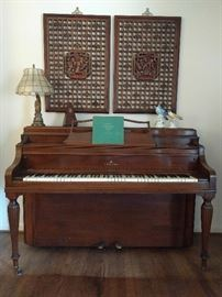 Hand carved Asian panels above a well-preserved Steinway upright piano. This piano is a pristine 1941 Steinway Model F Hepplewhite Console Walnut piano.  This exact piano recently sold on eBay for $5K:                                                           http://www.ebay.com/itm/1965-Steinway-Model-F-Hepplewhite-Console-Walnut-piano-/302030090046?hash=item4652656f3e%3Ag%3A33AAAOSwAvJW9TQs&nma=true&si=suiAISPLTRD%252B8xzGZV3Zx2M68yE%253D&orig_cvip=true&rt=nc&_trksid=p2047675.l2557