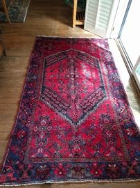 "Hand woven, 100% wool Persian Kurdish Bidjar, measures 3' 9"" x 6' 5""."