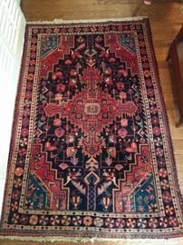 "YUMMY! I love the life in this rug! It is a hand-woven, 100% wool Persian Hamadan rug, that's at least 50 years old. The colors are fabby, condition very good, with even pile; measures 3' 2 x 6' 4""."