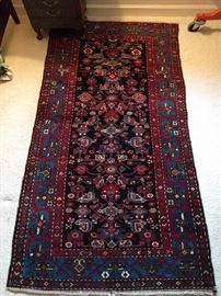 "Nice, traditional colors in this one. It is a hand-woven, 100% wool Persian Mahal. The colors are sweet, condition very good, with even pile; measures 3' 4 x 8' 4""."