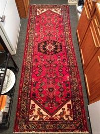 "This is a hand-woven, 100% wool Persian Malayer Sarouk runner. The colors are jumpy, condition very good, with even pile; measures 3' 2 x 9' 3""."