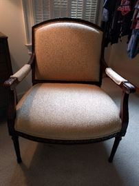 Very nice  mahogany French-style bergere upholstered armchair.