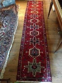 "Love this pairing of an 75-year old room size Heriz, with a Karacheh Heriz runner. It is hand-woven, 100% wool the colors are vibrant, condition very good, with even pile; measures 2' 4 x 10' 6""."