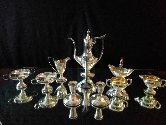 "A small part of the sterling silver at this house. The 3-piece tea set is ""Plymouth"" , by Gorham."