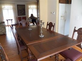 Spanish Revival Style Dining Room Table w/6 Chairs;    2 leaves tuck away into the table
