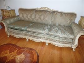Carved wood frame couch-Italian Style