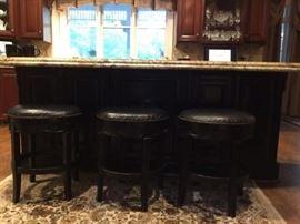 Swivel Black Leather Bar Stools