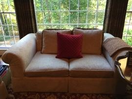 Baker 8 way hand tied spring front Love Seat