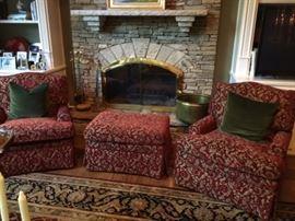 Custom Club Chairs w/Ottoman