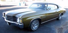 1972 Chevrolet Malibu Chevelle 2 Door Sport Coupe, 42,824 MIles, V8 350-2V L65 165hp, VIN# 1D37H2k639173, Starts Right Up, Running