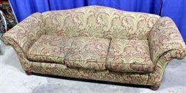 Paisley Print Upholstered Camel Back Sofa, Approximately 7'