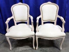 Italian Captain's Dining Chairs, Metal Rivet Trim, Qty 2