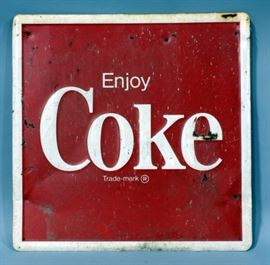"""Enjoy Coke"" Classic Vintage Metal Advertising Sign, 24"" x 24"""