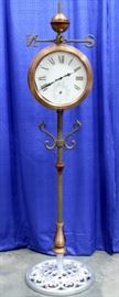 """Double Sided Clock Weathervane with Temperature Gauge, Copper Finish, 67""""T"""