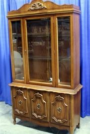 """French Provincial Style Lighted Display China Hutch, 45""""W x 79""""H"""