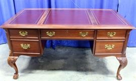 """Sligh Chippendale Style Ball & Claw Foot Executive Desk with Leather Top, 58""""W x 30""""H x 30""""D"""