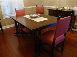 Antique Dining Room Set. inlaid wood.