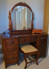 American made Solid Black Walnut Dressing Vanity with bench