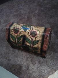 Wooden Sunflower chest. 29w x 15d x 20h.