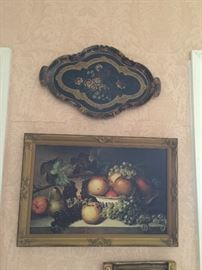 Chromolithograph , Painted Wood Tray