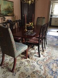 Mahogany Double Pedestal Dining Table ,   (4) 19th Century Chippendale Chairs, Parsons Chairs