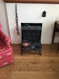 Iron Wood Stove, Kettle Warmer
