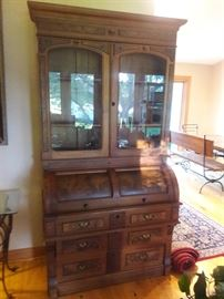 Beautiful and rare Antique Barrel top secretary with Walnut inlay in excellent condition.
