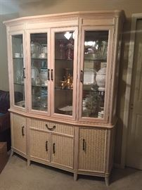 Breakfront 2 piece set  mirrored and lighted with large storage cabinet area on bottom. 80 by 60 by 16. Beautiful piece of furniture