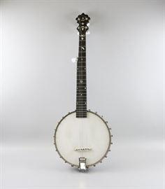 An American Inlaid Five-String Banjo-Banjeaurine