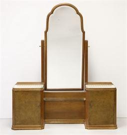 Continental Art Deco Mahogany And Burl Walnut Vanity