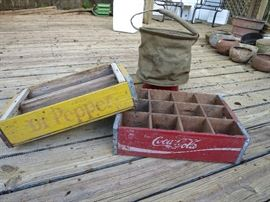 Vintage Coca-Cola And Dr Pepper Crate, U.S. Army Canvas Collapsible Water Bag