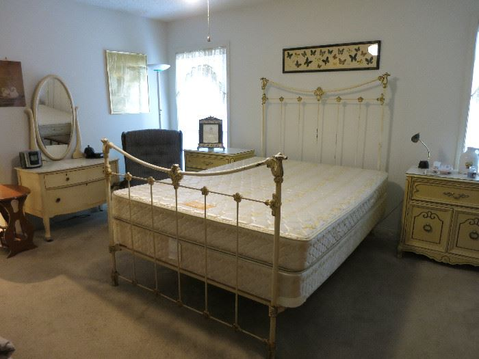 Queen Size Iron Bed, Vintage Night Stand And Dresser, Beautiful Butterflies Displayed In Frame
