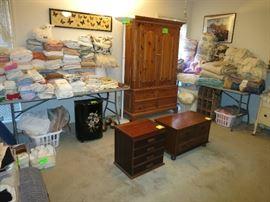 "Thomasville Linen Press Cabinet, 4 Drawer ""Spool' Cabinet, Lane Record Cabinet, Vintage Black Metal Floral Laundry Hamper, Linens!"