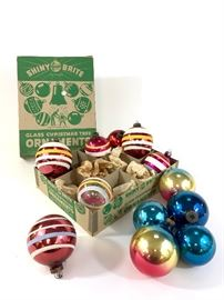 Lot of 12 Shiny Brite ornaments. Multi colored hand painted mercury glass. Normal wear consistent with age and use.