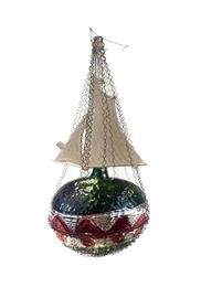 Antique Dresden, green, wire wrapped ship handmade out of  mercury glass ornament. 5.5 inches tall. Estimated value $210. In perfect condition for over 100 years old! The perfect gift for any ornament collector!